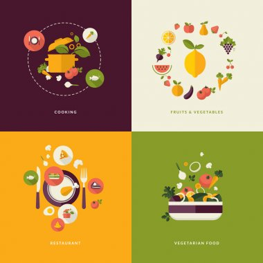 Icons for cooking, fruits and vegetables, restaurant and vegetarian food.    (food and drink, nature) stock vector
