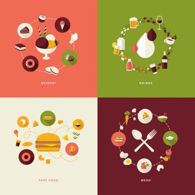 Icons for dessert, drinks, fast food, menu. stock vector