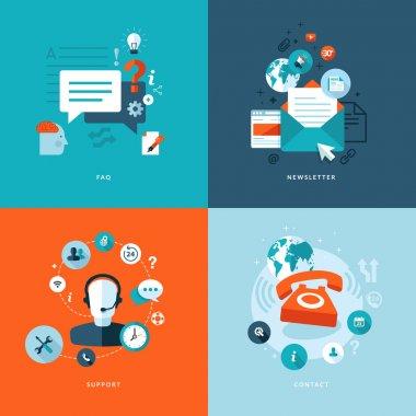 набор плоских символов концепции проекта для сети и услуг мобильного телефона и приложений