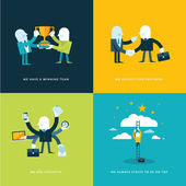 Photo Set of flat design concept icons for business