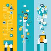 Sada plochý design vektorové ilustrace konceptů pro uspořádání webové stránky, mobilní telefon služeb a apps a počítače tablet služby a aplikace