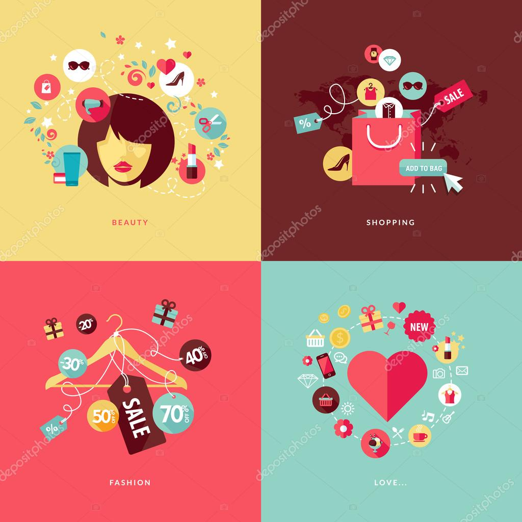 Set of flat design concept icons for beauty and shopping