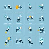 Set flacher Design-Symbole für Unternehmen, Finanzen, Marketing und E-Commerce