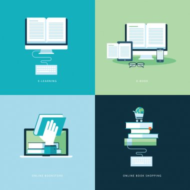 Set of flat design concept icons for online book