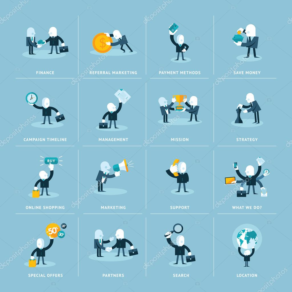 Set of flat design icons for business, finance, marketing and e-commerce