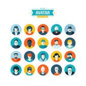 Fotografia set di icone di avatar design piatto