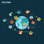 Fotografie flaches Design-Konzept für soziales Netzwerk