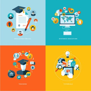 Icons for education for all, distance education, training and tutorials stock vector