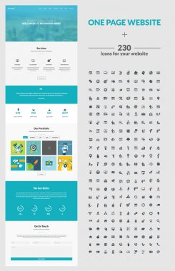 All in one set for website design that includes one page website templates, set of 230 icons for web design, and flat design concept illustrations clip art vector