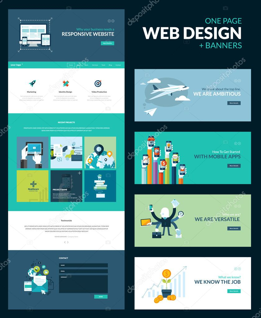 free mobile site template download - one page website design template stock vector variant