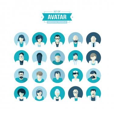 Set of flat design vector avatar icons clip art vector