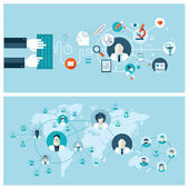 Photo Set of flat design vector illustration concepts for online medical services and support