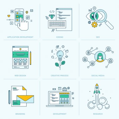 Set of flat line icons for web development