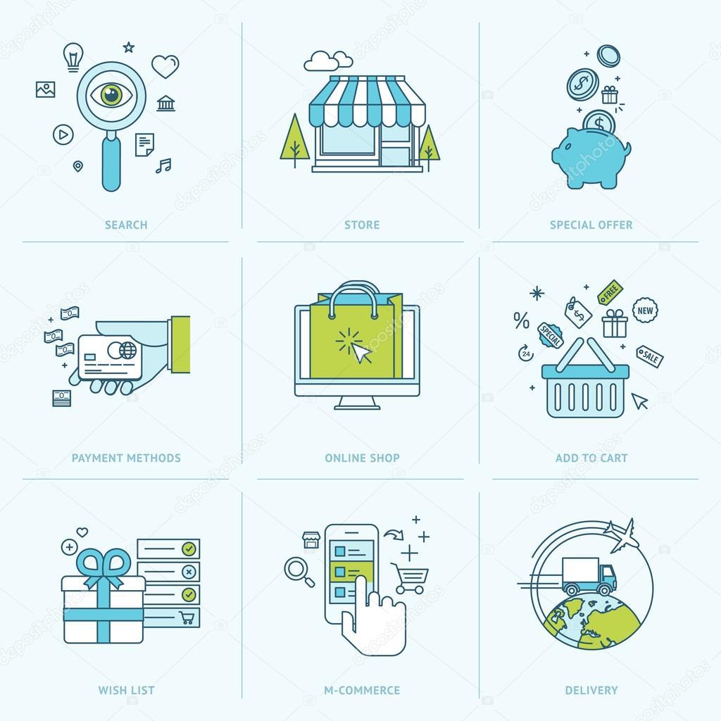 ensemble d 39 ic nes ligne plate pour faire du shopping en ligne image vectorielle variant. Black Bedroom Furniture Sets. Home Design Ideas