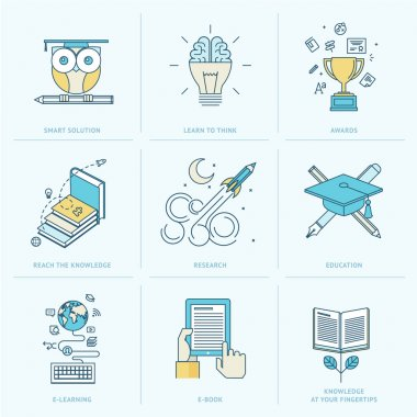Icons for online learning, online book, education solutions, research stock vector