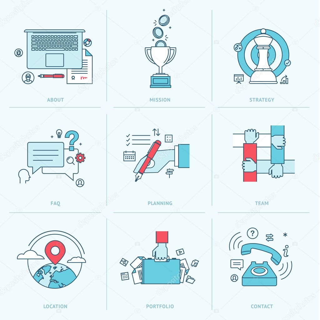 Set of flat line icons for business