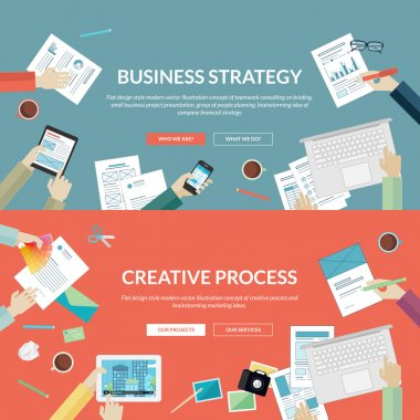 Set of flat design concepts for business strategy and creative process
