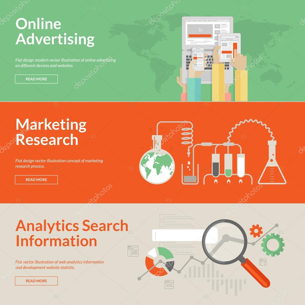 Set of flat design concepts for online advertising, marketing research and analytics search information