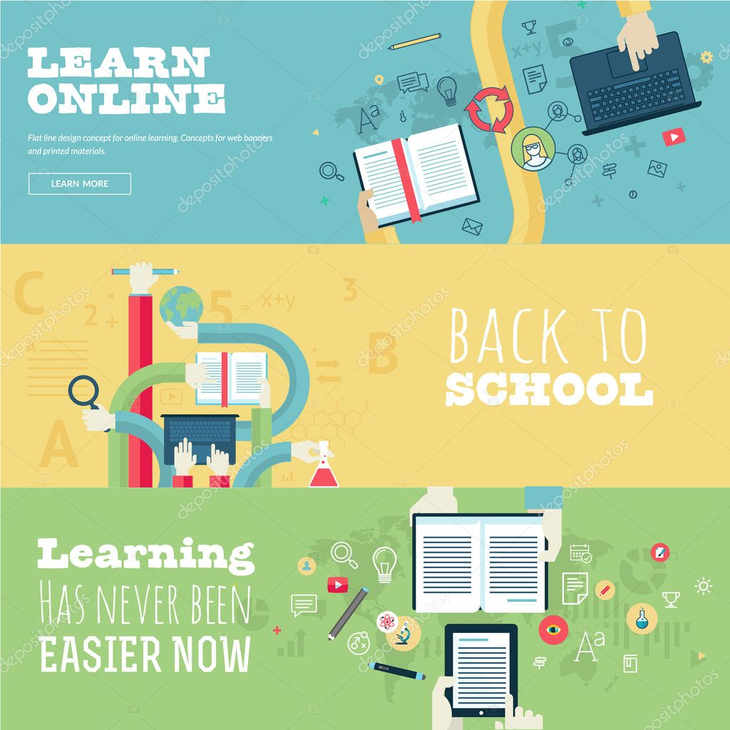 Set of flat design concepts for education, online learning, back to school