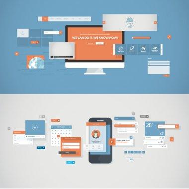 Set of flat design concepts for mobile app and website design development