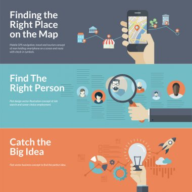 Concepts for Finding the right place on the map for travel and tourism, Find the right person for employee selection, and catch the big idea in business. stock vector
