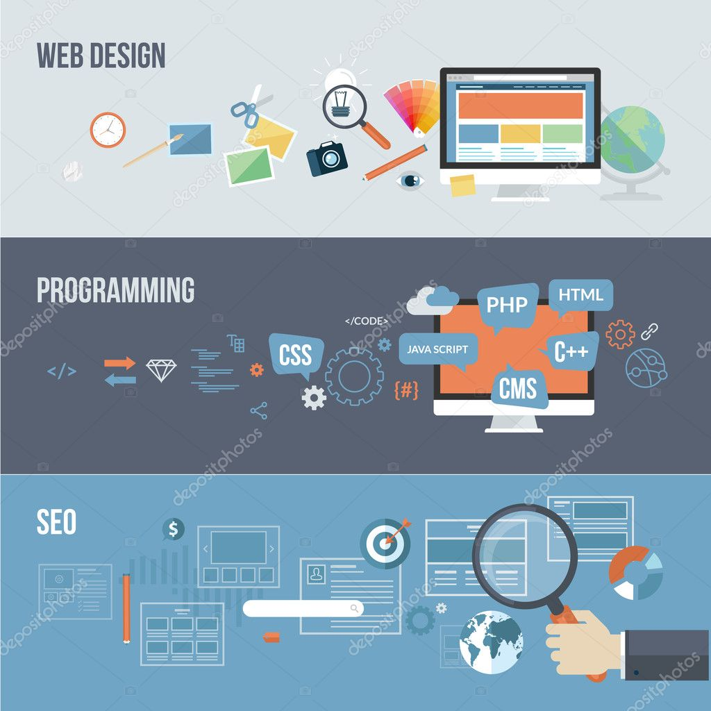 Set of flat design concepts for web development