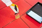 Pinsel Primer Fugenmasse von roten Ziegeln resistent