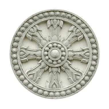 Thai style molding wheel of life isolated on white