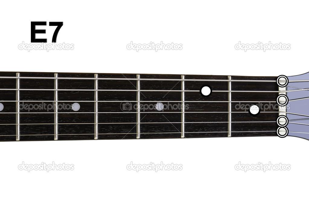 Guitar Chords Diagrams E7 Stock Photo Shaycobs 12359149