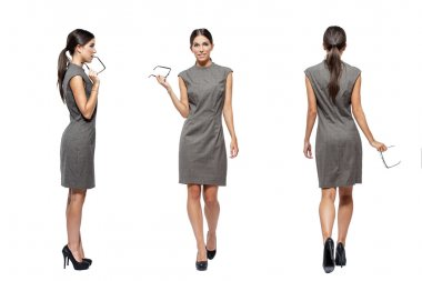 Businesswoman front side back view