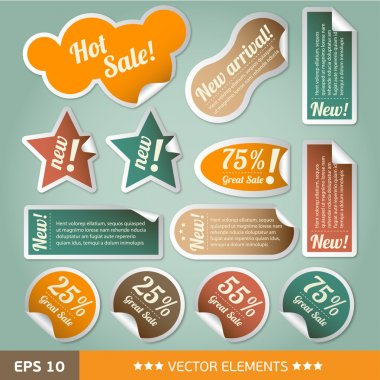 Vintage style discount tags. Sale stickers