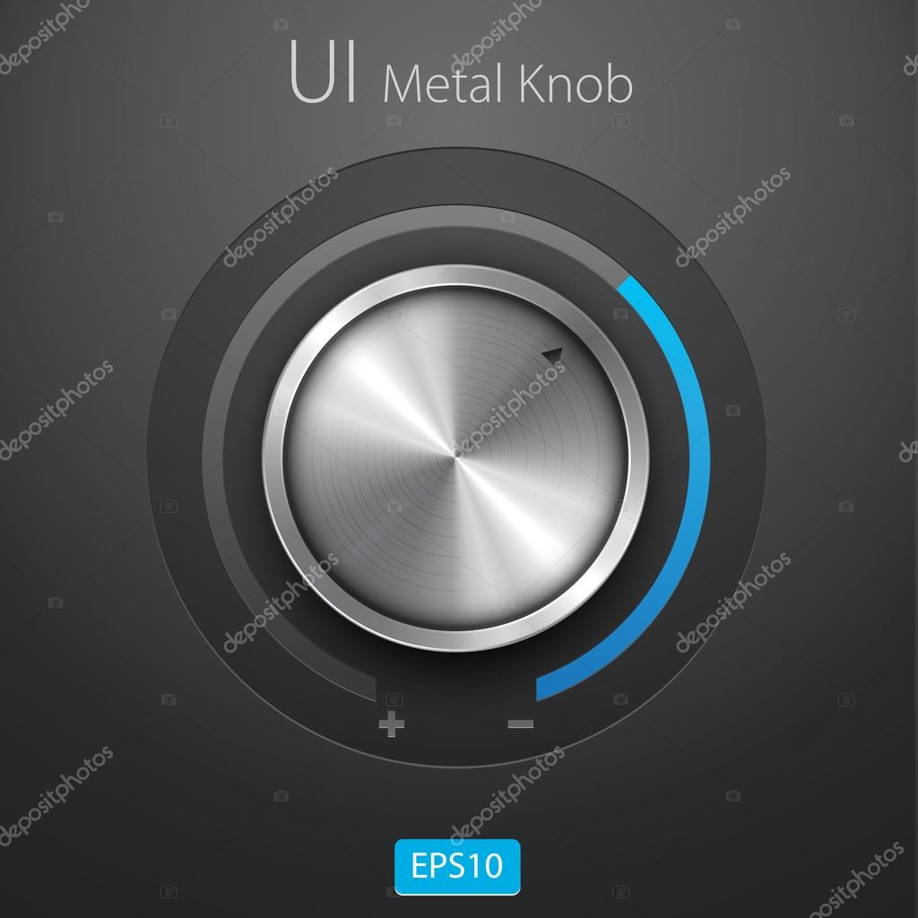 Volume button (music knob) with metal texture (steel, chrome), scale
