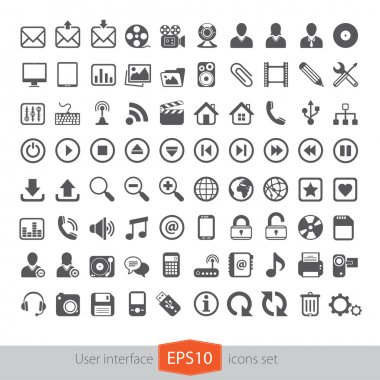 Web multimedia icons set stock vector