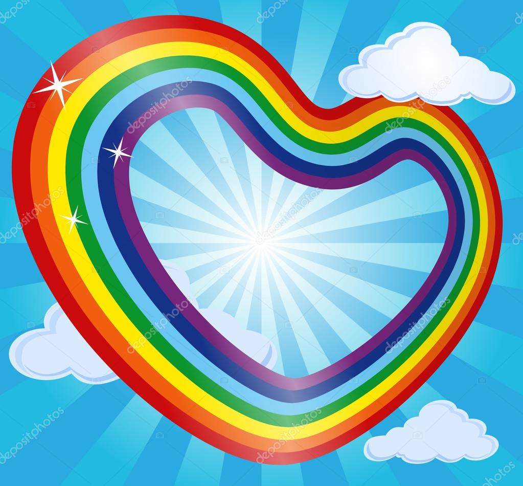 Rainbow heart in sky with clouds and sun. Abstract background. Vector illustration