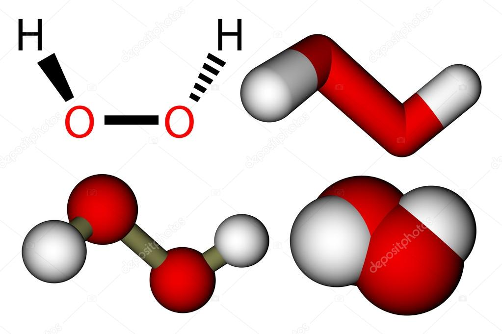 Hydrogen Peroxide H2o2 Structural Formula And 3d Molecular Mod