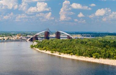 View of Dnieper river with bridges in Kiev, Ukraine