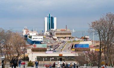 View of Odessa port at the Black Sea. Ukraine
