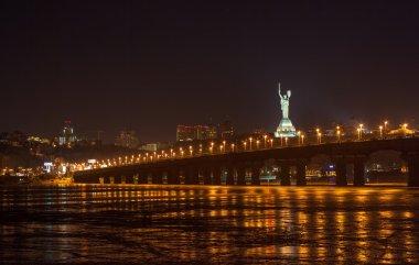 View of Paton bridge from the Left bank of Dnieper. Kiev, Ukrain