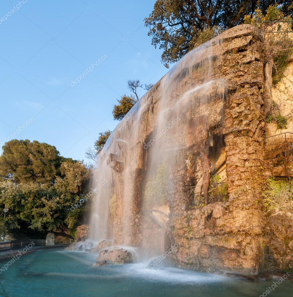 Waterfall in Parc de la Colline du Château - Nice, France