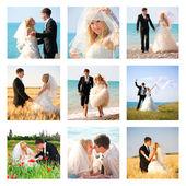 Koláž z devíti svatebních fotografií