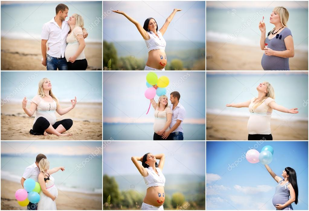 Collage of pregnant.set pregnant family on the sea