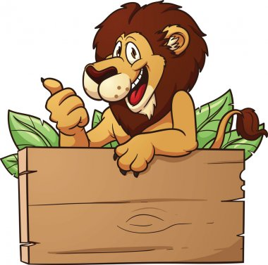 Cartoon lion with wooden sign