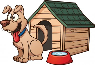 Cartoon dog house. Vector clip art illustration with simple gradients. Each element in a separate layer for easy editing. clip art vector