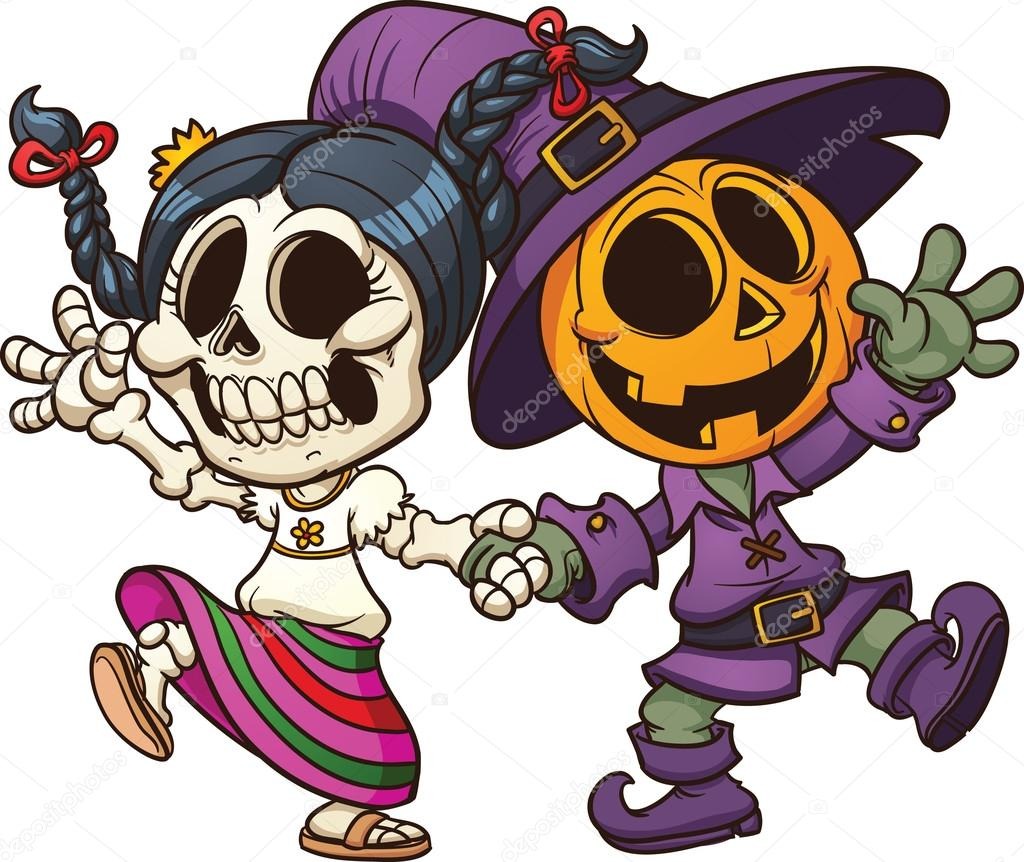 Dia de muertos and Halloween characters holding hands. Vector clip art illustration with simple gradients. All in a single layer. — Vector by memoangeles