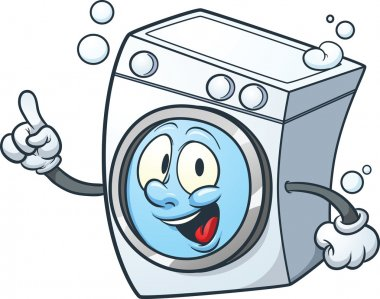 Cartoon washing machine. Vector clip art illustration with simple gradients. All in a single layer. stock vector