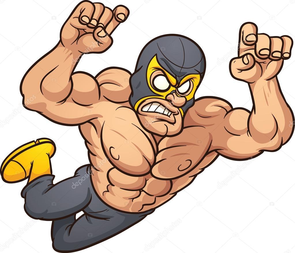 mexican wrestler stock vector memoangeles 14696027 rh depositphotos com High School Wrestlers Clip Art Fisherman Silhouette Clip Art