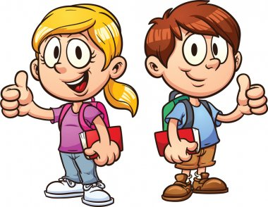 School kids. Vector clip art illustration with simple gradients. All in a single layer. stock vector