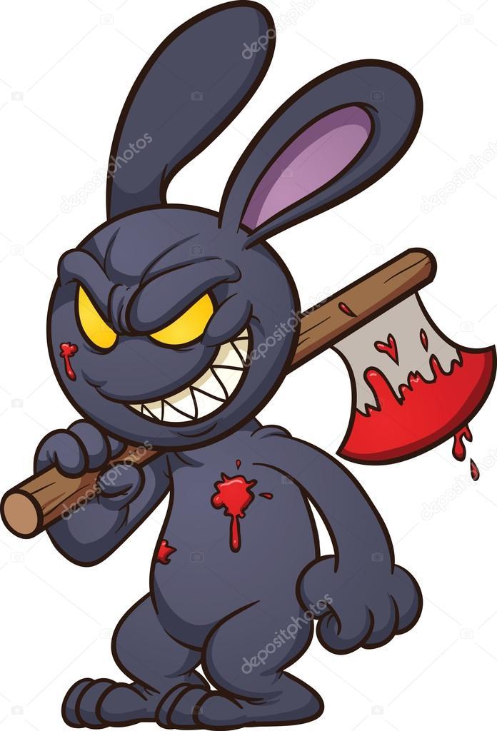evil cartoon bunny - 544×800