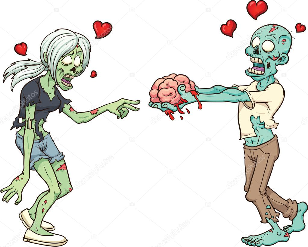 Zombie couple in love. Vector clip art illustration with simple gradients. Each element in a separate layer. clipart vector