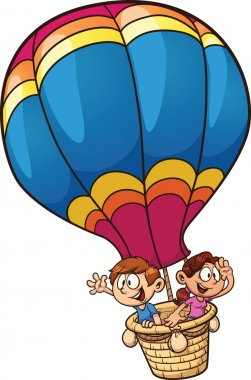 Kids flying on a balloon